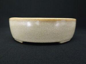 'Terahata Satomi' Japanese pottery bonsai pot (Oval) W14.cm K055
