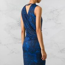 NWT Helmut Lang Faux Wrap Lined Stretchy Dress Blue Black S Womens Clothes