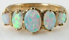 LARGE 9K 9CT GOLD AUS OPAL ETRENITY 5 STONE ART DECO INS RING  FREE RESIZE