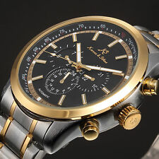 KS Fashion Mens Date Day Black Stainless Steel Automatic Mechanical Wrist Watch