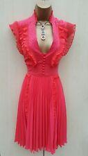 Size 12 UK Karen Millen Coral Frill Lace Atelier Cocktail Party Pleat Dress