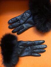 WOMENS BLACK KID LEATHER GLOVES Black Fox Fur Trim Cashmere Lined Used Sz 7
