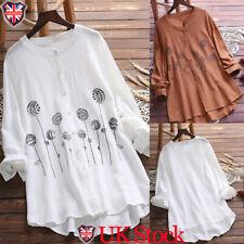Plus Size Women Button Tunic Blouse Long Sleeve Loose Cotton Linen Shirt Tops UK