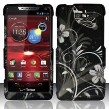 Design Rubberized Hard Case Cover for Motorola Droid 4 XT894 - White Flower