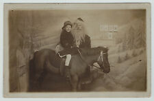 NICE RPPC - Santa Claus with Child on Pony c 1910 Toyland Brooklyn NY Real Photo