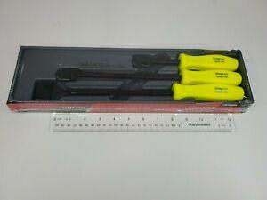 Snap On Tools NEW Sealed CSA300AHV 3 Piece Rigid Carbon Scraper Set (Hi-Viz)