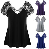 Sexy Womens V-Neck Plus Size Lace Short Sleeve Trim Cutwork T-Shirt Tops Blouse