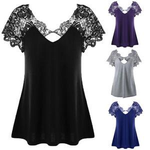 Women Backless V-Neck Plus Size Lace Short Sleeve Trim Cutwork T-Shirt Tops £OUK
