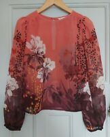 MISS SELFRIDGE LADIES FLORAL PRINT LONG SLEEVE BLOUSE TOP UK8 NEW