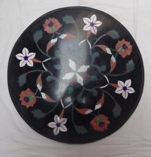 "23"" round black Marble coffee / sofa center Table Top marquetry art"