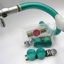 70s Shiny Green Handlebar Tape, Chrome Bar Plugs & World Champion Trim Tape