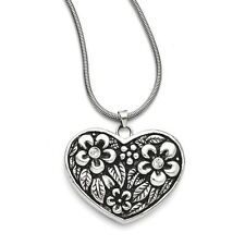 "Ladies Chisel Stainless Steel CZ Antiqued Heart Pendant 29.50"" Necklace"