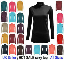 WOMENS LADIES LONG SLEEVES POLO TURTLE NECK STRETCH TOP JUMPER SIZES 6-26 'polo