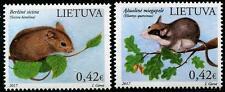 Endangered RONGEURS MNH Lot de 2 Timbres 2017 LITUANIE N.Bouleau souris, LOIR