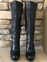 MICHAEL Michael Kors Pleated Black Leather Boots – Size 6 Medium