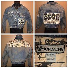 Vintage 80s JORDACHE Denim Jacket Acid Washed Cropped Jean S Golden Age Flying