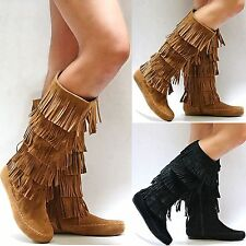 New Women FCL Tan Black Taupe 5 Layer Fringe Moccasin Tall Mid-Calf Western Boot
