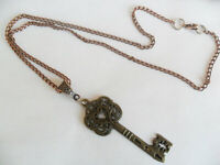 "Large Alice in Wonderland key necklace, 18"" inch long curb chain steampunk key"
