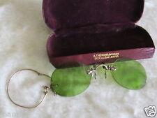Ancienne paire de lorgnons rare lunette soleil binocle en plaqué or