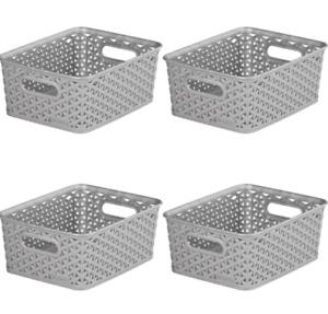 4x Curver Nestable Rattan Basket Small Storage Plastic Wicker Tray 8L - Grey