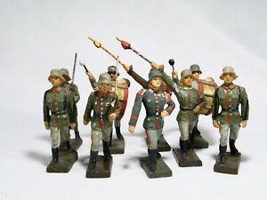 Lineol Elastolin D Bundle 9 Soldiers Germans Parade 1939 Material Composite 2 9/