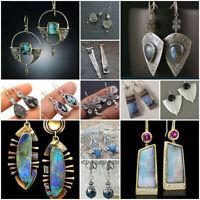 Vintage Retro Silver Turquoise Ear Hook Stud Dangle Drop Earrings Women Jewelry