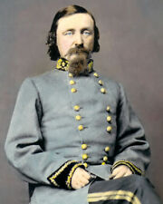 """GENERAL GEORGE E. PICKETT CIVIL WAR 1860 8X10"""" HAND COLOR TINTED PHOTOGRAPH"""