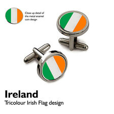 Irish Tricolour Flag Cufflinks Ireland Celtic Cruise Party Present Gift Box