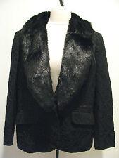JONES NEW YORK Black Cotton Blend Jacket With Removable Faux Fur Collar Size 14W