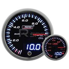 60mm JDM Smoked Style Oil Pressure Bar Dual Stepper Motor Gauge with warning