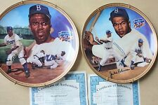 2pc Jackie Robinson Collector Plate 50th Breaking Barriers Player Of The Year