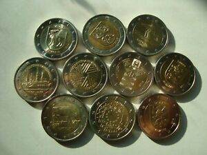 Latvia full set of commemorative coins 10x 2 Euro 2014-2018 UNC from bank rolls