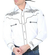 El General Cowboy Shirt Camisa Vaquera Western Wear Long Sleeve White/Black