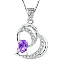 Natural Amethyst Double Hearts Sterling Silver Pendant Necklace Gift For Her