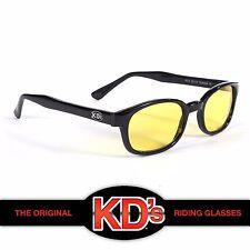 KD's Original Black Frame Yellow Lens Sunglasses Motorcycle Riding Glasses KD