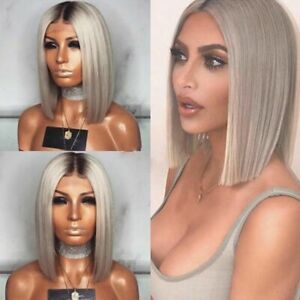 Womens Grey Ombre Short Straight Hair Wigs Bob Style Natural Cosplay Wig Gift