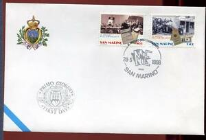 """32783) SAN MARINO 1998 FDC """"Uff. San Marino"""" Museo Emigrante"""