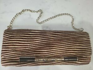 Vintage NWOT ELAINE TURNER Women's Optic Real Haircalf Simone Clutch Bag $325