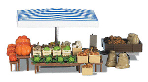 HO Busch Farmer's Market Vegetable Stand with Small Trailer KIT 1070