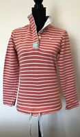 Ladies Joules Jersey Top Size 8 Pink Stripe <SW6346