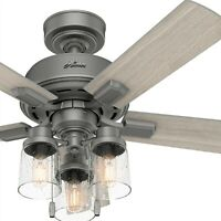Hunter Fan 44 inch Casual Matte Silver Indoor Ceiling Fan with Light Kit