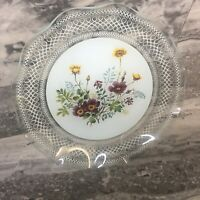 Curved Glass Embellished Glaze Wildflower Serving Plate VGC - Mid Century Modern