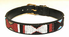 """Small  1 1/2"""" wide Dog Collar hand beaded 17"""" fits 13 1/2"""" to 15 1/2"""" neck size"""