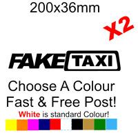 Fake Taxi x2 Sticker Decal funny bumper car van bike