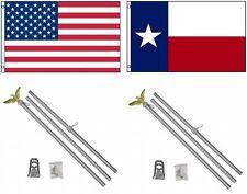 3x5 eeuu. AMERICANA & State Of Texas Bandera & 2 ALUMINIO Polo Kit SETS 0.9mx5'