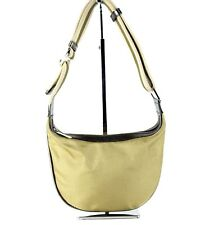 Authentic GUCCI Golden Nylon Canvas, Leather Small Semi Shoulder Hand Bag Italy