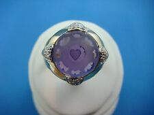 14K YELLOW GOLD LARGE AMETHYST AND 4 PAVE DIAMONDS HEARTS LADIES RING 11.4 GRAMS