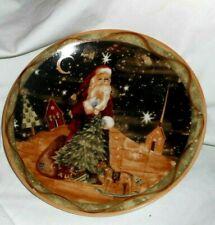 SANTA FATHER CHRISTMAS XMAS CHRISTMAS TREE Winter Snowy Scenes China Plate
