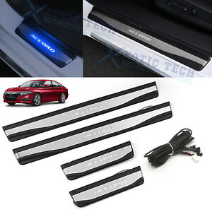For Honda Accord 18 19 Blue LED Door Sill Scuff Plate Guard Protector Cover Trim