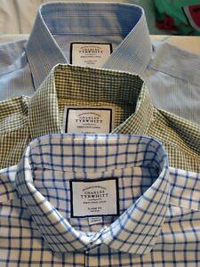 T M Lewin mens Shirts 16 Collar  X 3 green check blue check NON IRON  NICE COND